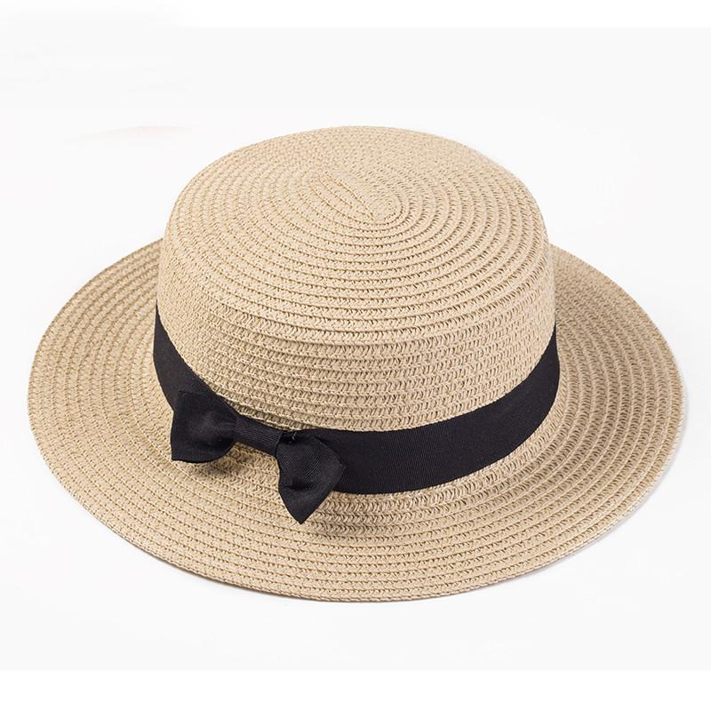 4e492b6ce1961 Lady Boater Sun Caps Ribbon Round Flat Top Straw Beach Hat Panama Hat  Summer Hats For Women Straw Hat Snapback Gorras Baby Hats Bucket Hats For  Men From ...