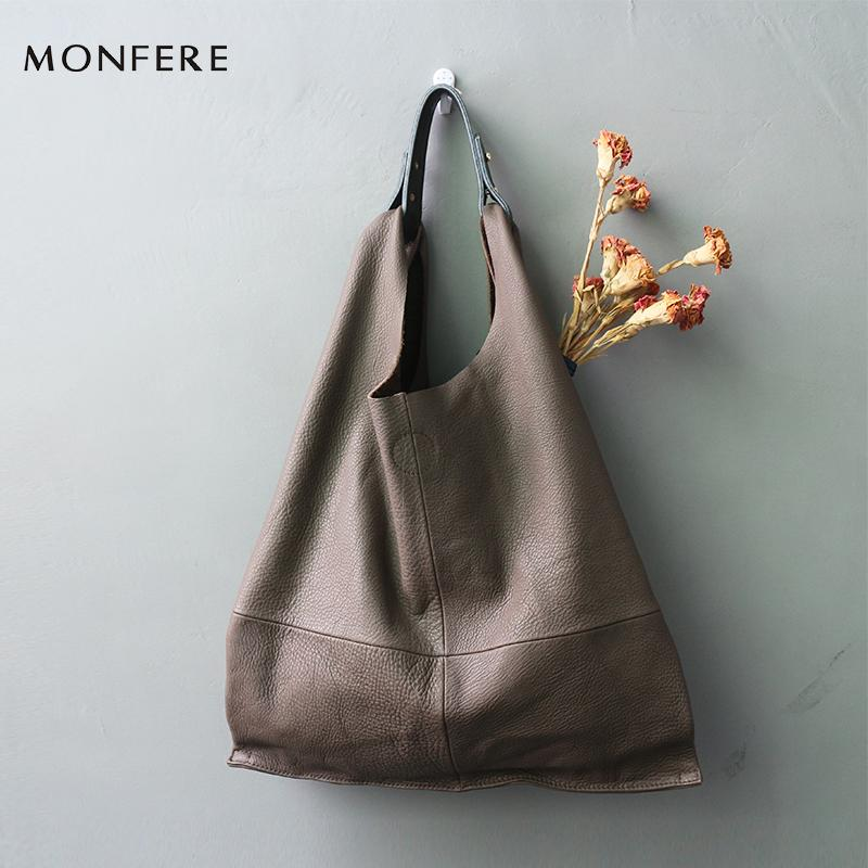 05392d02a2 Monfere Fashion Genuine Leather Women Bag Casual Hobo Shoulder Bags Soft  Large Bucket Shopping Bags First Skin Cowhide Tote Bag Weekend Bags Luxury  Bags ...