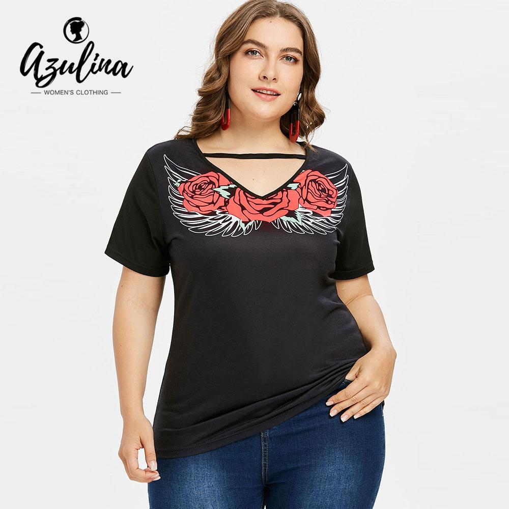 3f40db1f AZULINA Plus Size Flower Wing Print Women T Shirt Summer V Neck Short Sleeve  Top Ladies T Shirt 2018 Causal Tops Tees Big Size Cool Tee Funny Graphic T  ...