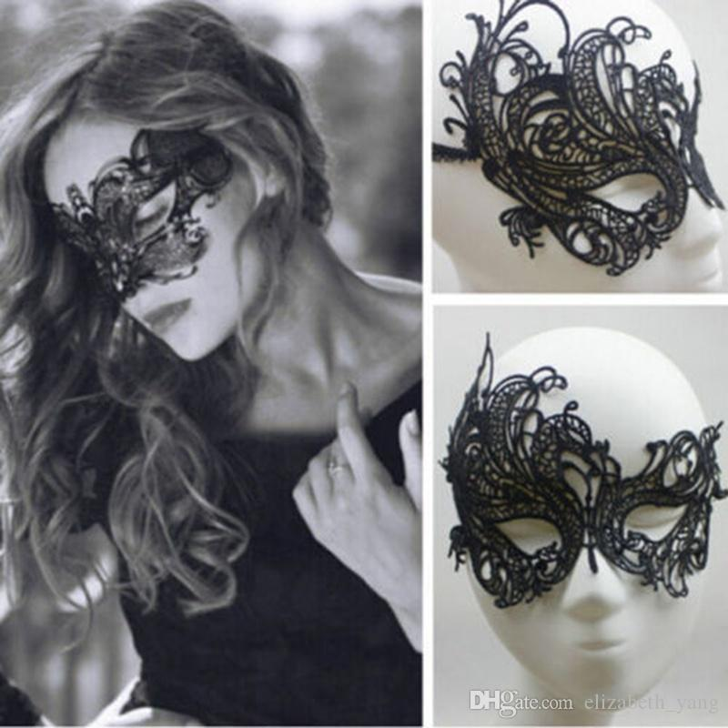 Black Cotton Lace Venetian Masquerade Eye Mask Fancy Dress Costume Accessory