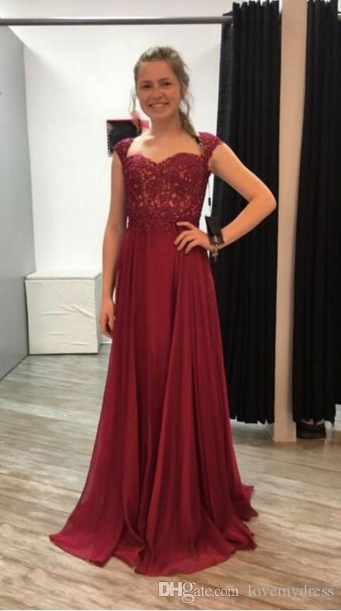 ca64d2b30b474 Burgundy Simple Cheap Evening Dresses Formal Gowns Cap Short Sleeve Empire  Waist Floor Length Long Applique Lace Celebrity Prom Dress Sexy Little  Black ...