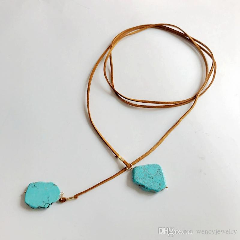 New Design Pendant Necklace, Natural Stone More Colors Wrap Leather Pendant Adjusted Handmade Necklace