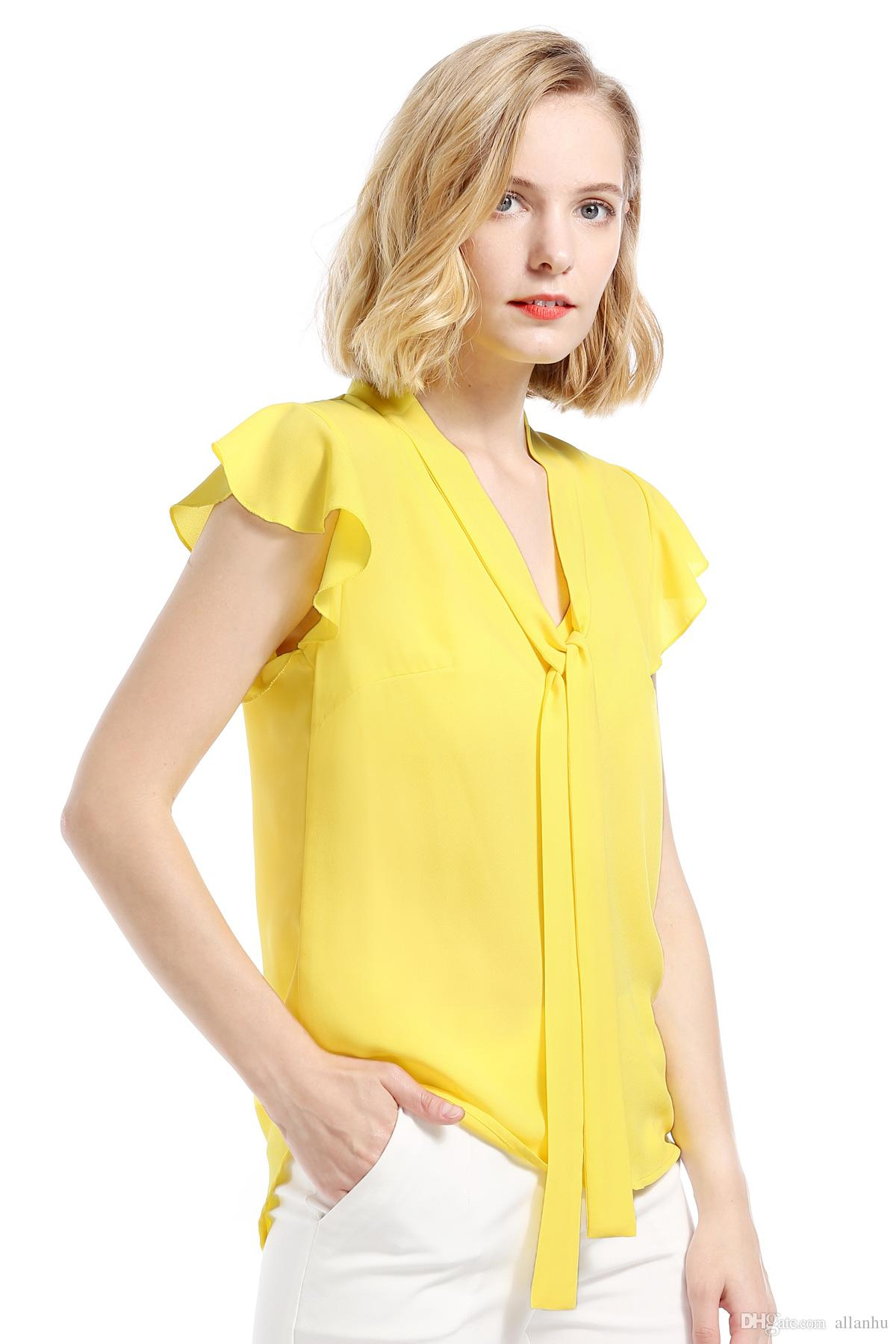 5ba31acf0e2c6 2019 2018 Spring Summer Print Blouses For Women Yellow Chiffon Ruffles  Ribbon Female Shirt Sexy Casual Ladies Tops OL Office Lady FS3465 From  Allanhu