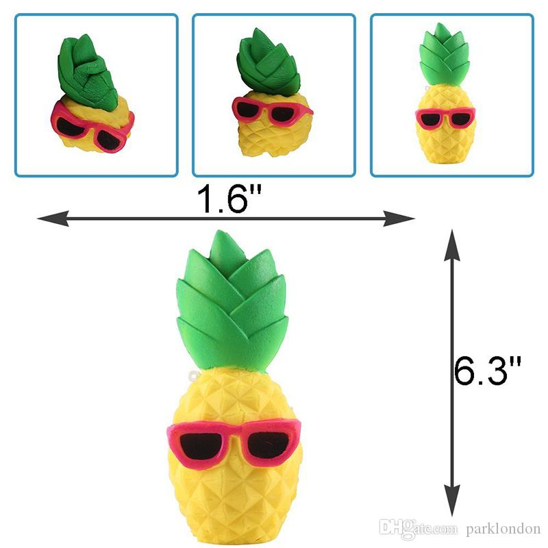 Hot Pineapple Squishy Sunglasses Decompression Jumbo Scented Simulation Squishies Decoration Kids Toy Glasses Squeeze Gift