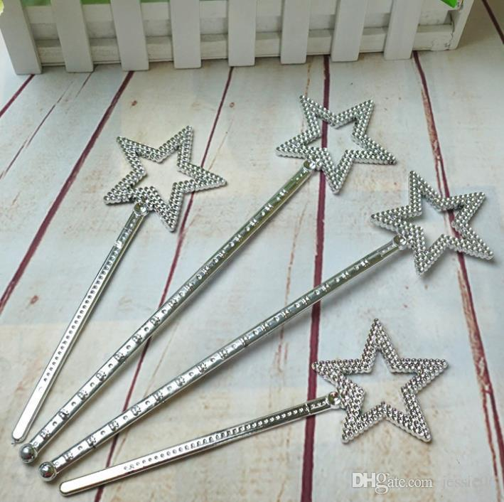 Sliver star magic wand kids girl Cosplay fairy princess elf angel wand streamers props birthday XMAS party bag filler favor 22cm