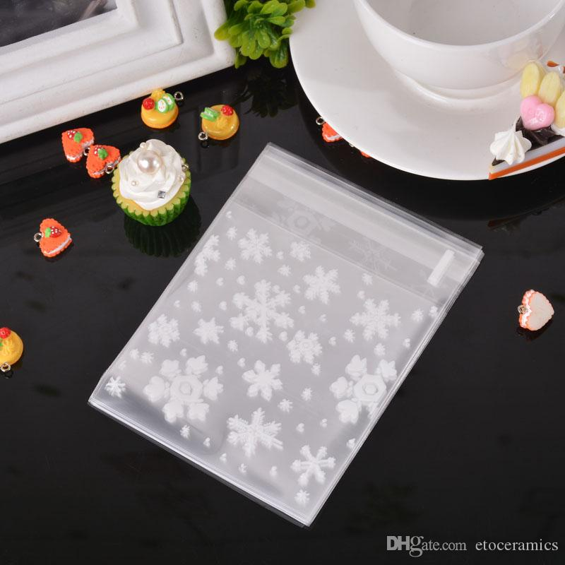 Clear Christmas Snowflake Cookie Bag Plastic Cellophane Self Adhesive Seal Bakery Gift Cello Bags 10x10cm two size