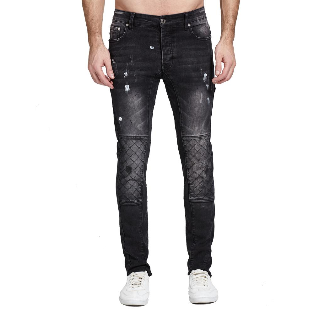 Men Jeans Black Biker Jeans Fashion Design Motocycle Strech For Men H0112