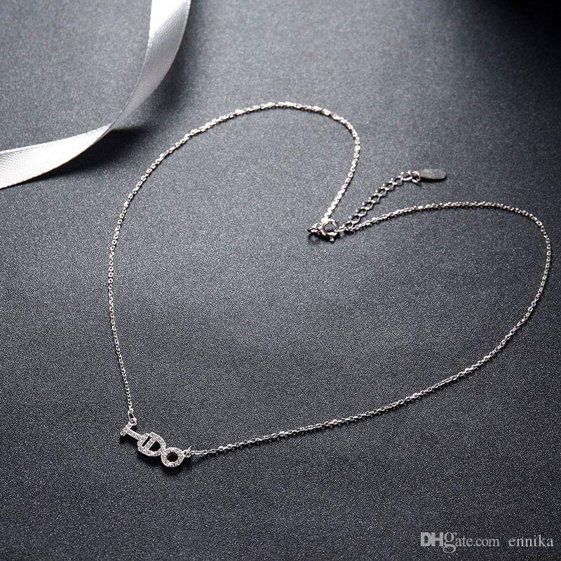 Sterling Silver 925 Chains Pandent Necklace Women Party Jewelry Pure Silver I DO Letter Necklace Good Quality n061