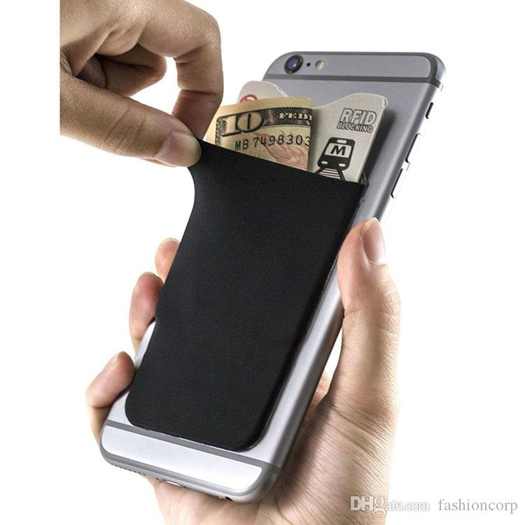 detailed look 822a8 576de Adhesive Phone Wallet & RFID Blocking Sleeve a Stick-On Stretchy Lycra Card  holder Universally fits most Cell Phones Cases Extra Pocket