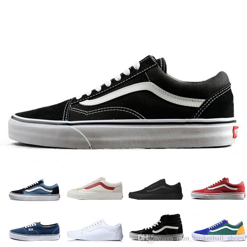 Compre Vans Original Skool Zapatos Casuales Negro Azul Whtie Rojo Clásico  Para Hombre Mujer Zapatillas De Lona Enfriar Skateboarding Tennies  Entrenador ... cea5dd3e1a5