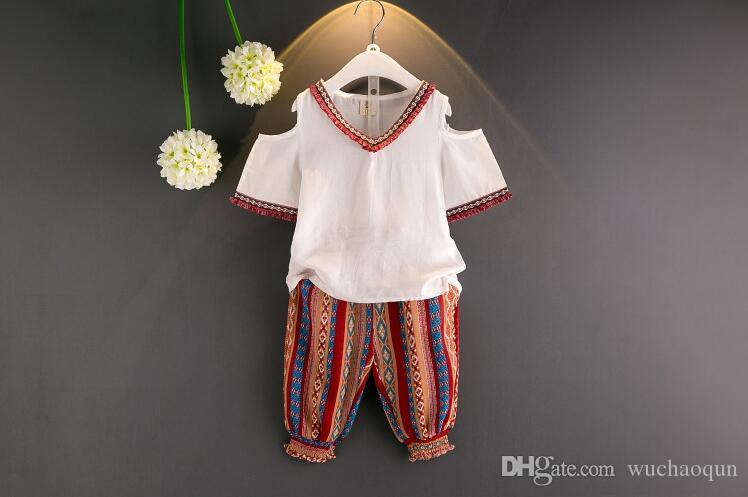 Toptan çocuk tasarımcı kıyafetleri kız Moda Kısa Kol Çiçek Elbise Üst + Pantolon 2 Adet Yaz kız bebek tasarımcısı şifon Kıyafetleri giysi