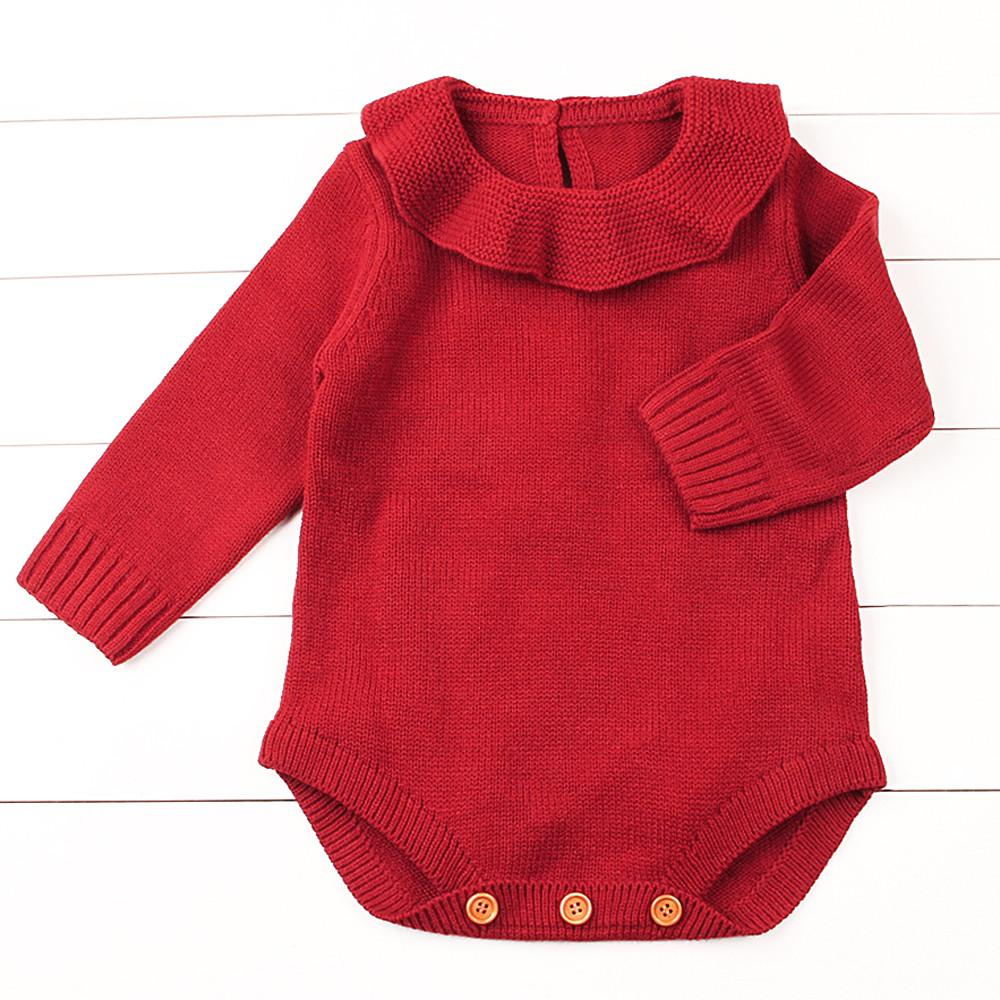 a6c428edaf5 2019 Peter Pan Collar Solid Knitted Romper Newborn Infant Baby Boy Girl  Weave Long Sleeve Rompers Jumpsuit Outfits Clothes From Sophine13