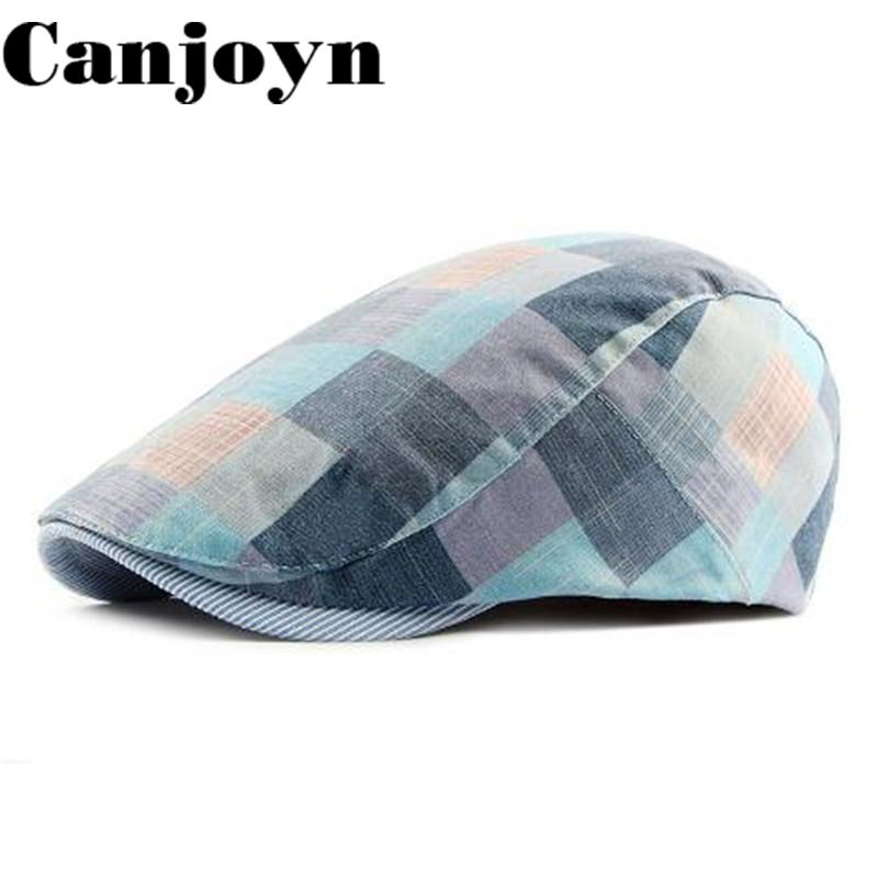 236794880e7b0b 2019 Canjoyn 2018 New Berets Boina Dad Hat Plaid Boinas Flat Cap England  Style Beret Gorras For Women Men Cap Gift From Mudiaolan, $31.04 |  DHgate.Com