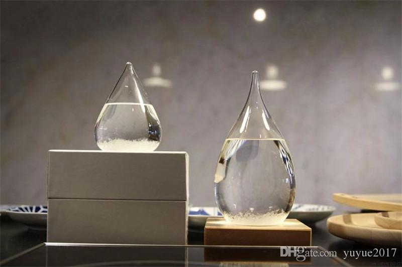 Weather Forecast Crystal Tempo 17.5*8cm Drops Water Shape Storm Glass Weather Predictor Bottle Christmas Craft Arts Gifts