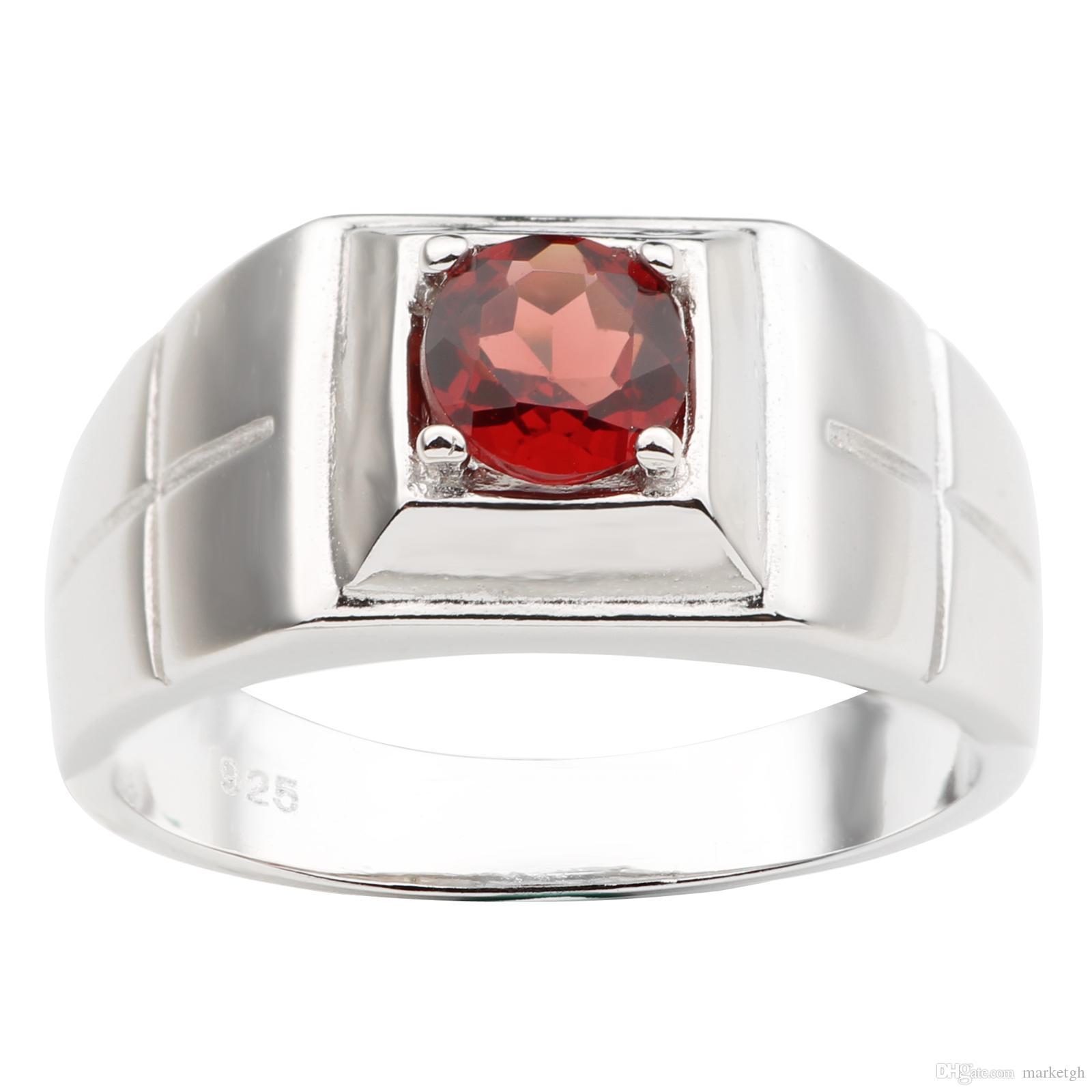 Natural Gemstone Silver Ring 925 Jewelry Men Women Size 5,6,7,8,9,10,11,12,13