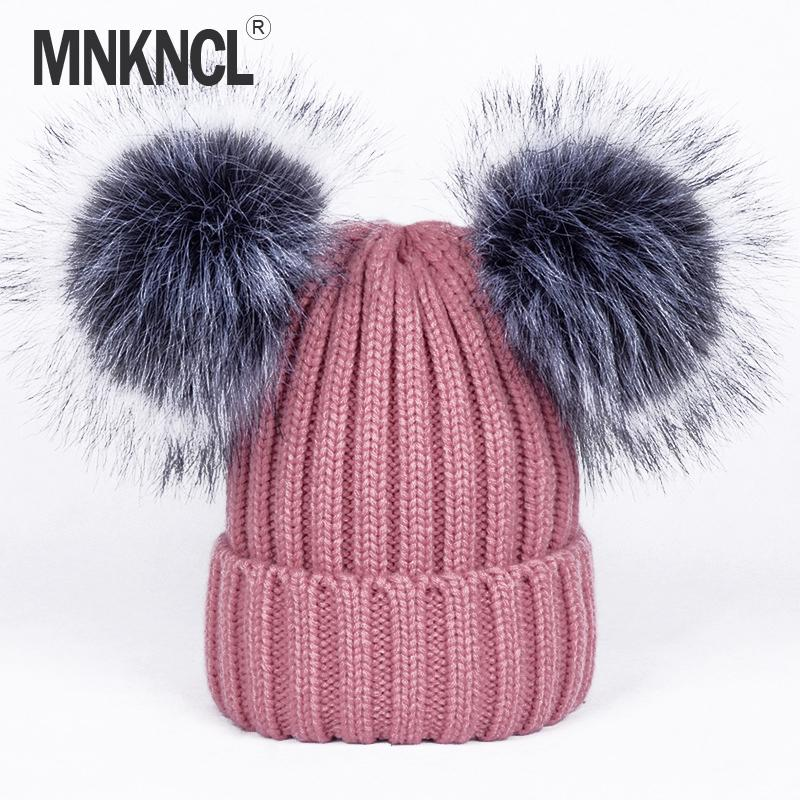 7db7e3df58e 2017 New 2 Pom Poms Fur Ball Winter Cap Skullies Beanies Winter Hat For  Women Girl  S Hat Knitted Cotton Thick Female Warm Hats For Men Snapback  Caps From ...