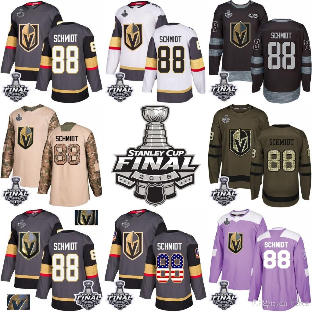 2018 2018 Stanley Cup  88 Nate Schmidt Vegas Golden Knights Green Gray USA  Flag Fashion Purple Fights Cancer Practice Gold Hockey Jerseys From B2bcn c0cc90c82