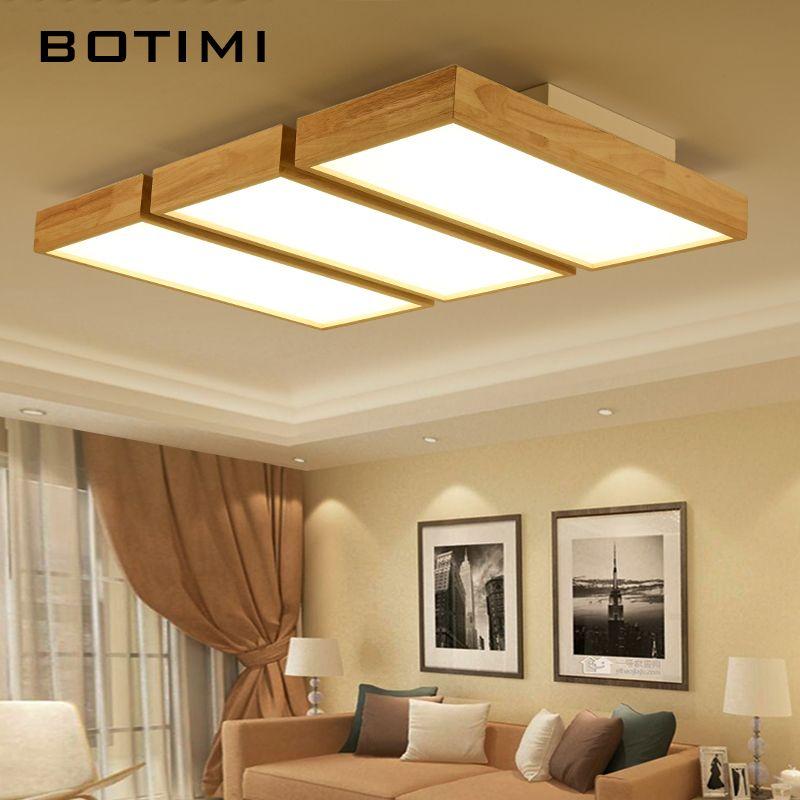 BOTIMI Moderne LED Deckenleuchten Holz Quadrat Deckenleuchte Mit  Dimmfernbedienung Für Wohnzimmer Esszimmer Licht Holz Schlafzimmer Lampen
