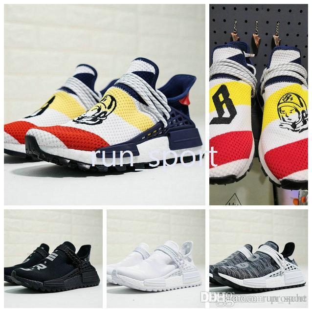 f653689c6 2018 Wholesale NMD Human Race Pharrell Williams Hu Trail NERD Men Womens  Running Shoes NMD Noble Ink Core Black Red Sports Shoes Eur 36-46 Nmd Human  Race ...