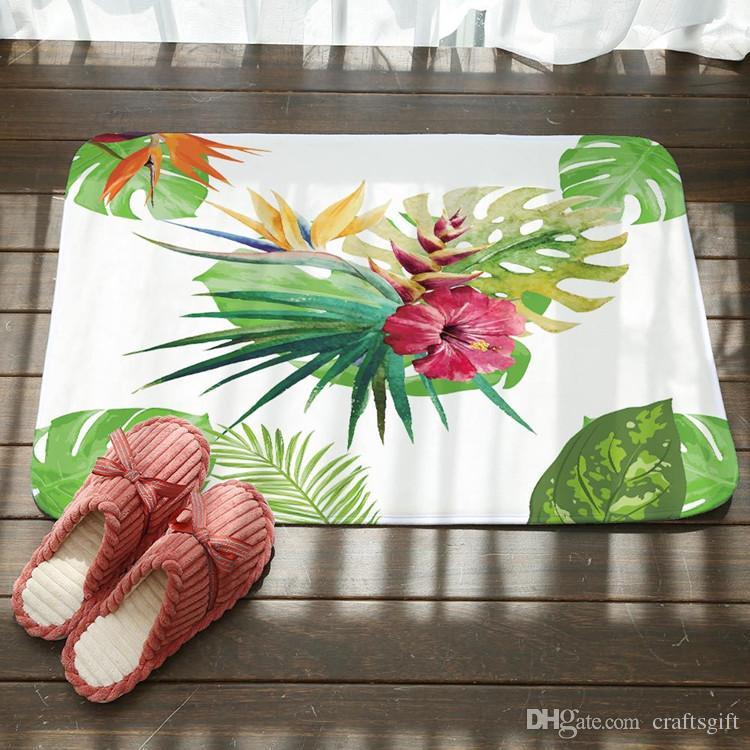 80 * 50 cm fiori freschi verde foglia antiscivolo zerbino tappeto antiscivolo soggiorno camera da letto porta tappeto cucina bagno piano porta tappetini