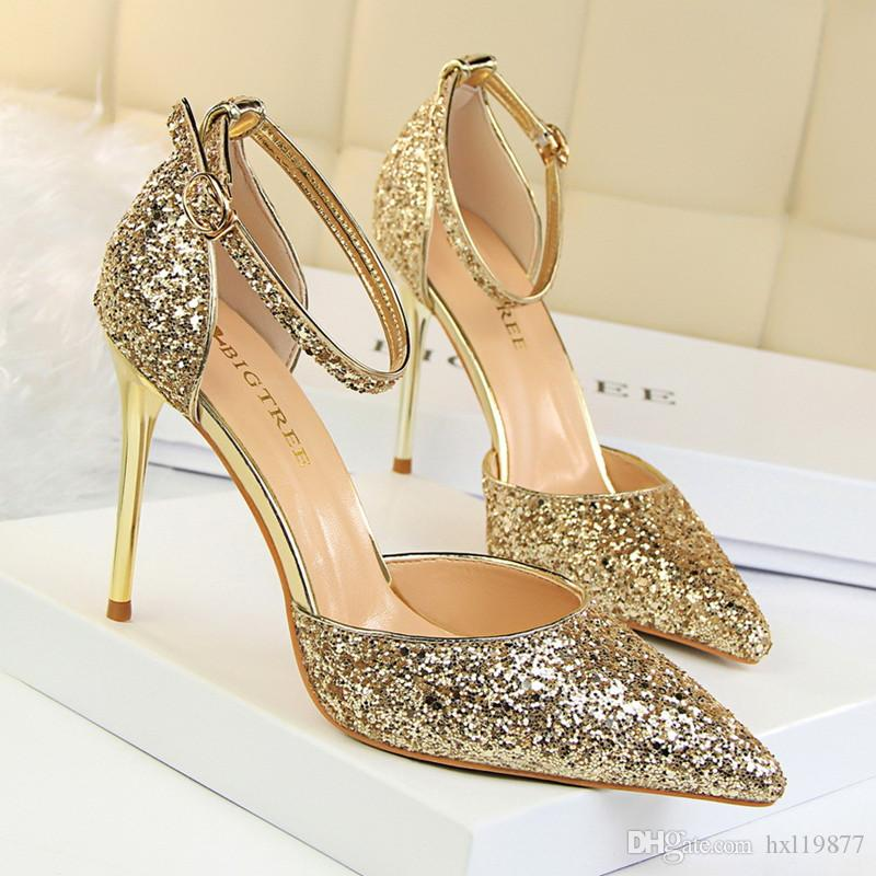728d08b1d971 BIGTREE Shoes Woman Elegant Shining Diamond High Heels Shallow Mouth Women  Pointed Hollow Toe Sandals Sweet High Heeled Shoes 283 1 White Shoes  Wholesale ...