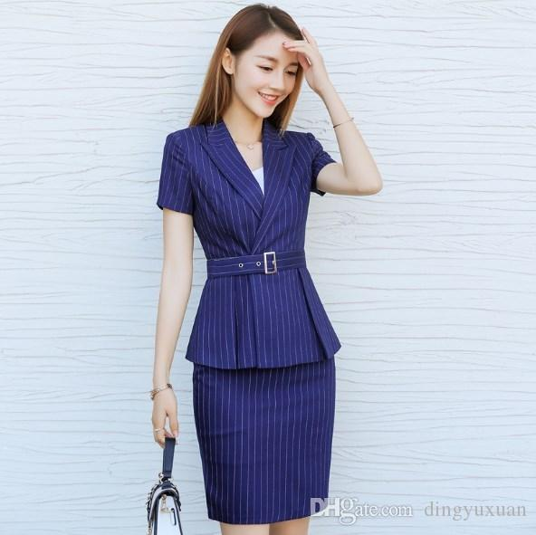 e4b133f67901 2019 Female Summer Two Pieces Set Interview Suits Black Blue Striped Plus  Size Skirt Pant Suits For Women Office Short Sleeve Blazer From Dingyuxuan