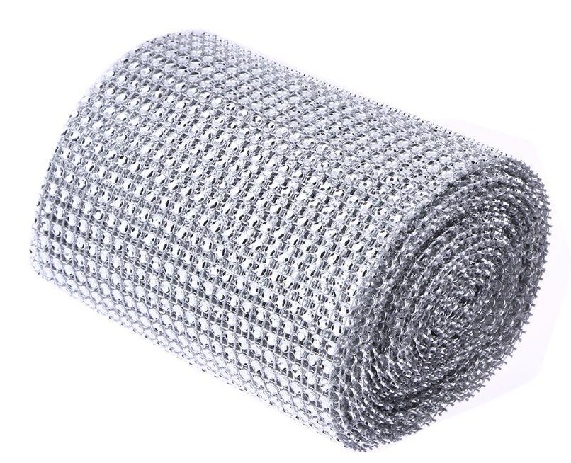 5 Yard Sparkle Mesh Trim Diamond Wrap Roll Rhinestone Silver Ribbons Wrapper Roll for Wedding Party Decoration