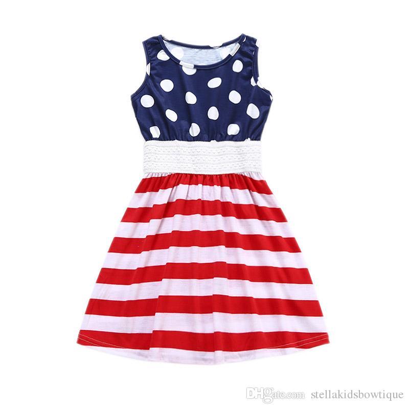 American Patriotic Day Robes sans manches Enfants Vêtements Todder Filles Robes Dot Pattern Girls Dress Ventes directes d'usine