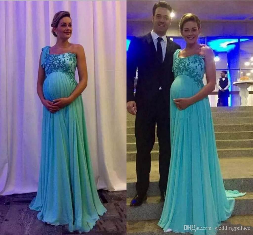 2018 One Shoulder Maternity Evening Dresses Lace Applique Chiffon ...