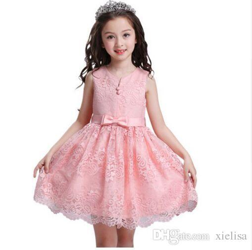 d685c6a28c96e Acheter Robe De Dentelle De Princesse Fille De Fleur V Cou Bouton ...