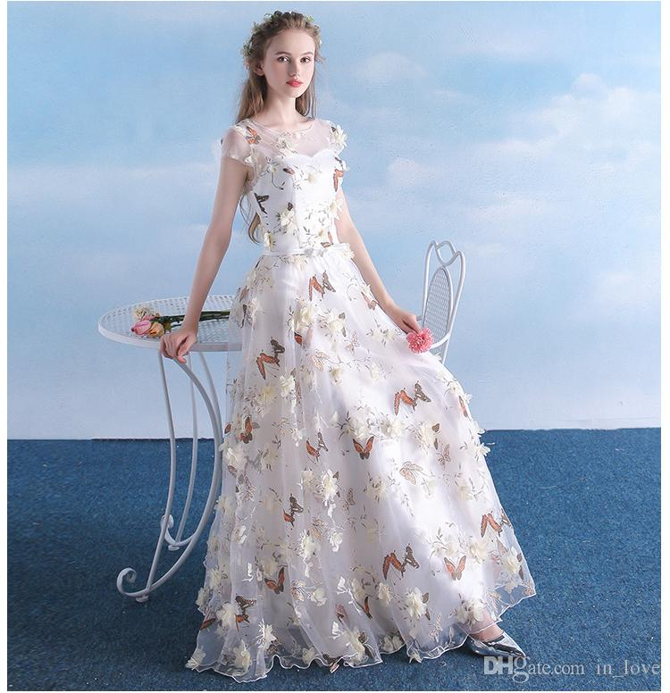 3D Floral Butterfly Printed Cream Prom Dresses Cap Sleeve Floor Length Long A Line Romantic Girls Pageant Dress Part Gowns