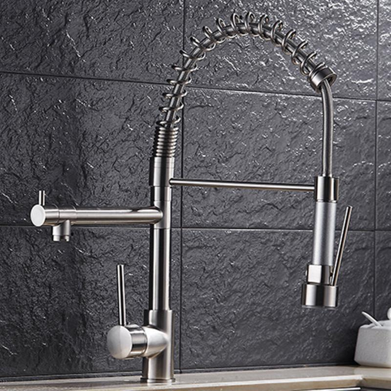 Free shipping Top quality three way kitchen faucet with brushed kitchen  sink faucet of 3 ways sink water faucets