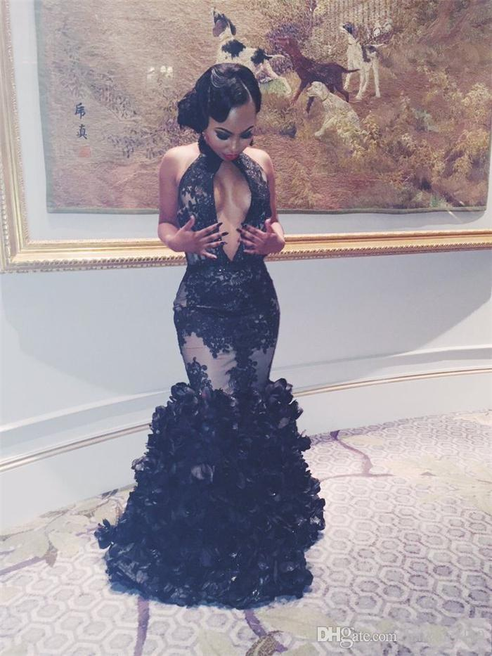 2018 Sexy Black Halter Tiered Floral Mermaid Prom Dresses Backless Keyhole 2K17 Tulle Appliques 3D Flowers Floor Length Party Evening Gowns