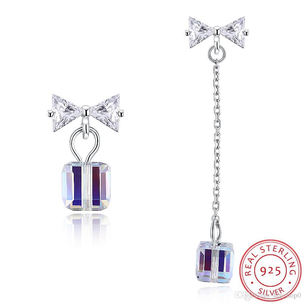 Drop Earrings New Arrival 925 Stamped Silver Color Crystal Cube Drop Earrings Long Tassel Chain Shiny Zircon Dangle Earring Women Jewelry Jewelry & Accessories