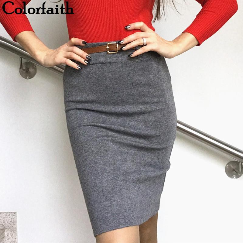 da07b786f4ade Colorfaith New 2018 Women Solid Multi Colors Knitting Package Hip Pencil  Midi Skirt Autumn Winter Belt Bodycon Femininas SK6008Y1882501