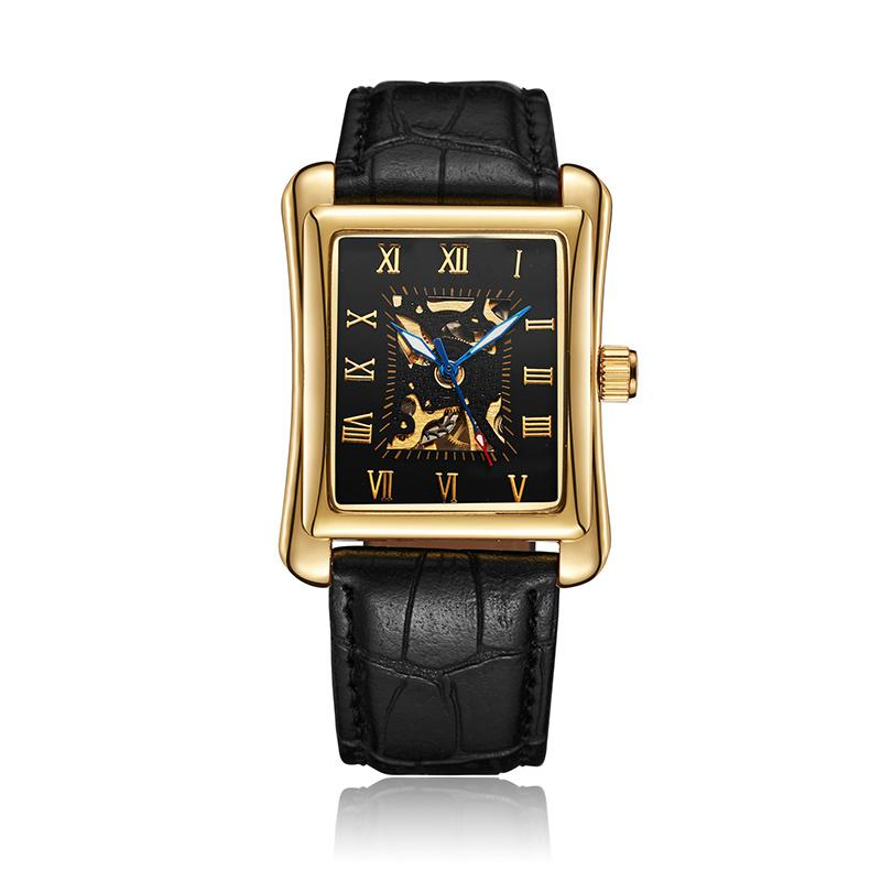 Reasonable Hot New Fashion Skeleton Black Steel Men Male Clock Sewor Brand Hollow Cool Stylish Design Classic Mechanical Wrist Dress Watch 100% Guarantee Watches