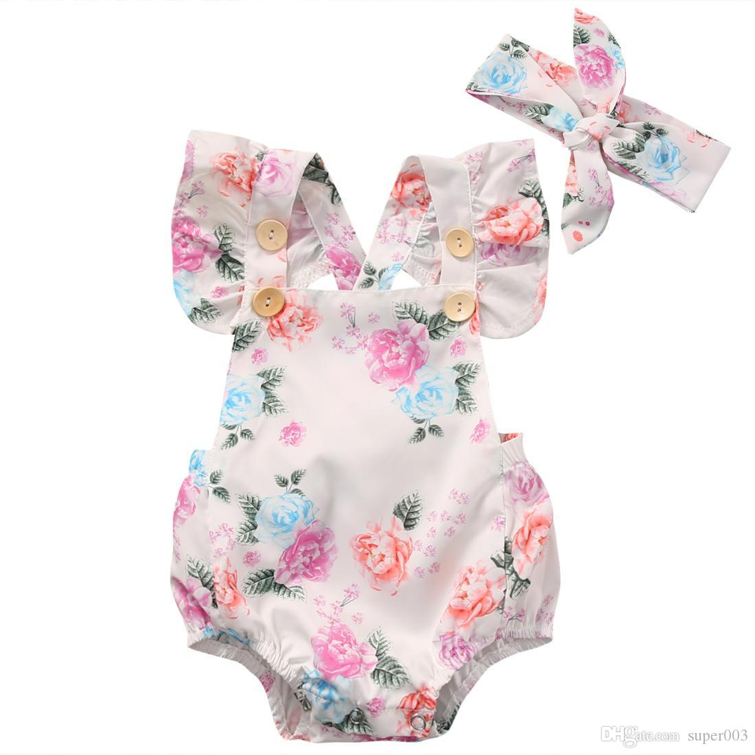 a47f8db9364 2019 Floral Baby Romper Clothes Set 2018 Summer Newborn Baby Girl Ruffled  Sleeve Bodysuit Jumpsuit + Headband Outfit Sunsuit From Super003
