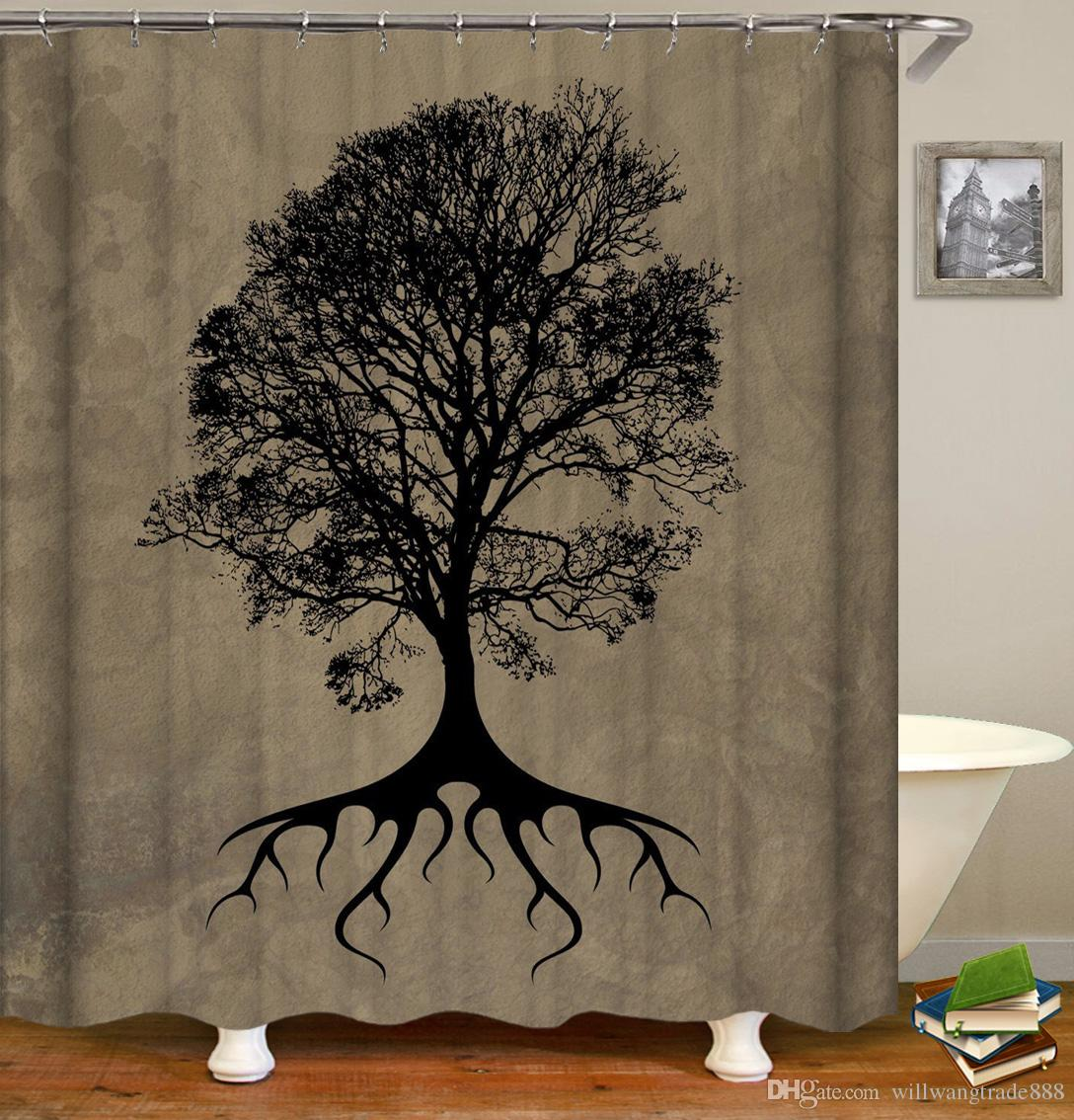 Waterproof Creative Landscape Trees Sunset Scenery Shower Curtains Digital Printing Bathroom Curtains With Rings 71x71inch