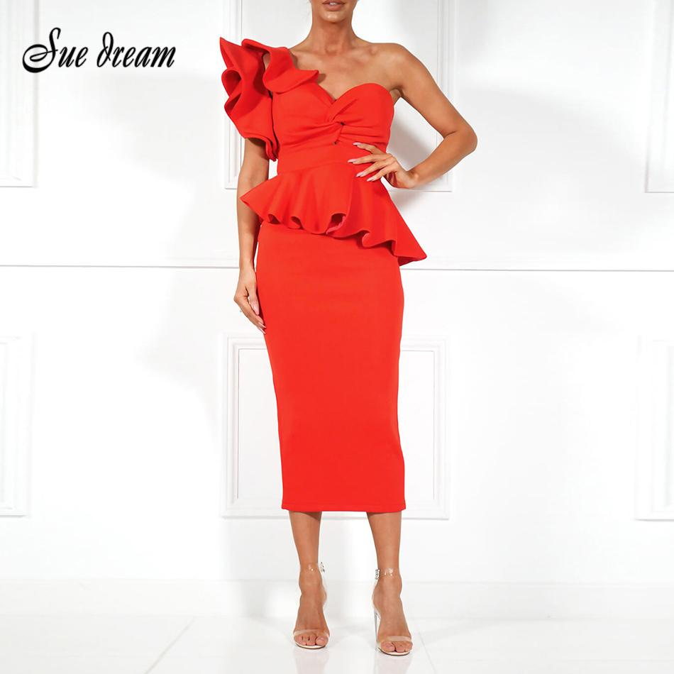 12772ddfb1 Spring Summer Party Dress One Shoulder Ruffle Dress 2018 Women Sexy Flounce  Midi Dresses Elegant Empire Club Bodycon Dress D1891306 Ladies Cocktail  Dress ...