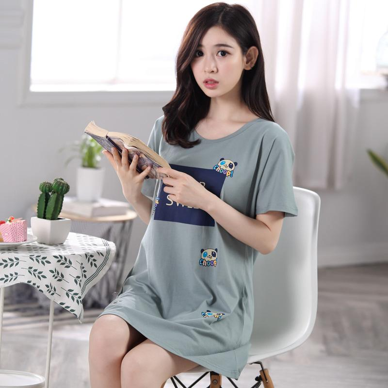 28df98276f 2019 2017 Summer Short Sleeve Women Nightgown Cotton Casual Loose Cute  Sleepwear Plus Size Night Dress Ladies Home Elegant Sleepshirt From Brry