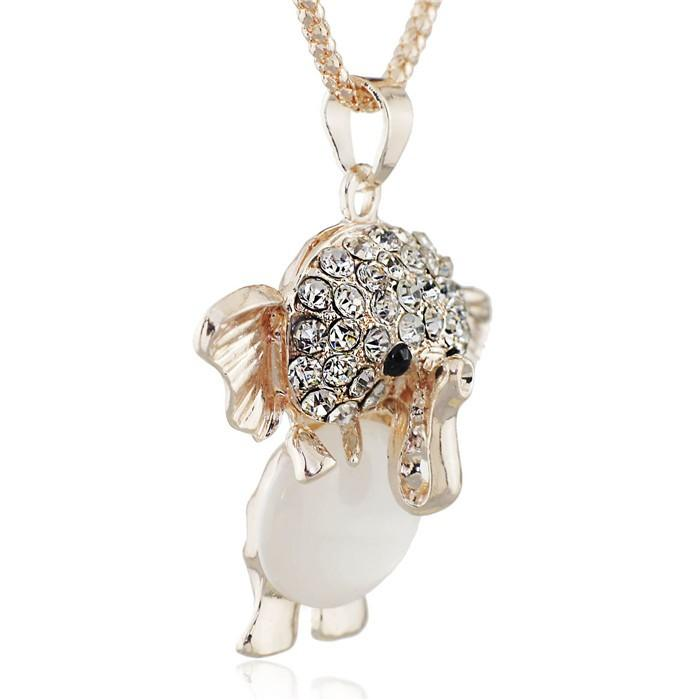 Opals Elephant Shining Crystal Long Chain Necklaces & Pendants Necklace For Women