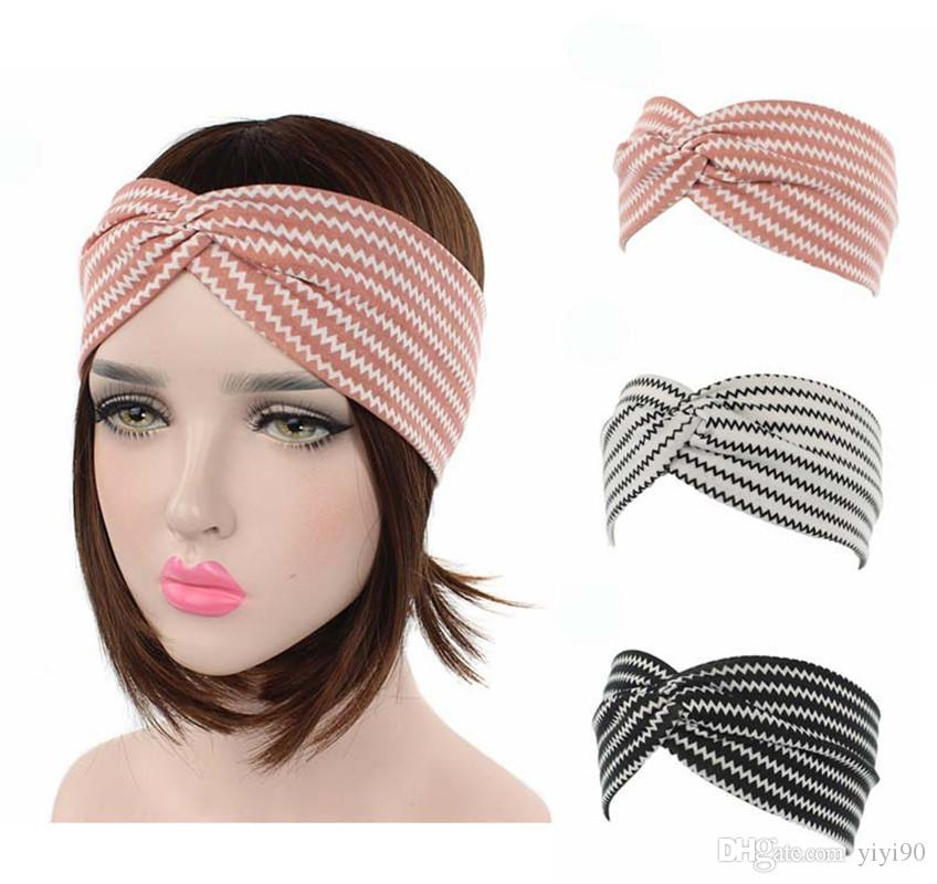 2019 Women Criss Cross Headbands Vintage Elastic Printed Turban Head Wrap  Stretchy Moisture Hairband Twisted Cute Hair Accessories From Yiyi90 5e44eb305041