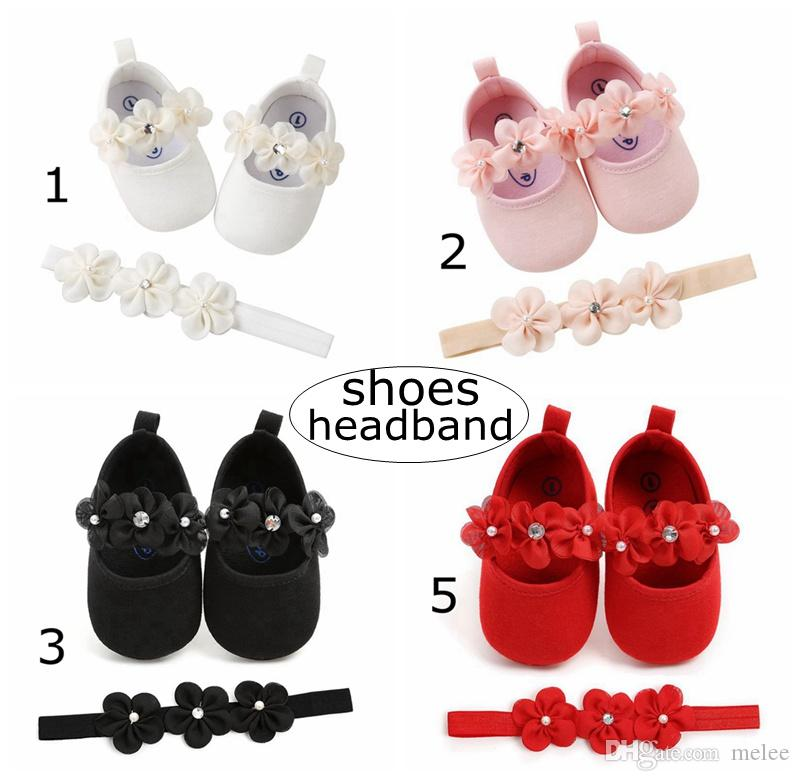 Baby Shoes Set Infant Flowers Walking Shoes with Headband Kids Paillette Pu  Shoes   Newborn Flower Headband 0-2years Leather Shoes Infant Baby Shoes  Newborn ... 8a2fb41ca131