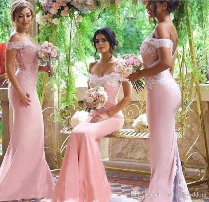 Blush Pink Mermaid Bridesmaid Dresses 2018 Off Shoulder Sweetheart Backless Sweep Train Cheap Real Images Wedding Guest Party Gowns Custom