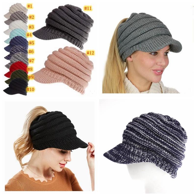 Großhandel Winter Pferdeschwanz Hüte 12 Farben Gestrickte Baseball
