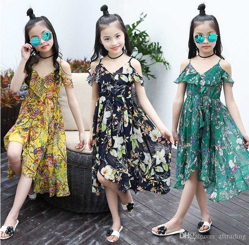 a4145891d14 2019 Girls Dress Bohemian Summer Dress For Girls 2018 Casual Girls Beach  Sundress Teenage Kids Teen Clothes 6 8 10 12 Year From Zftrading