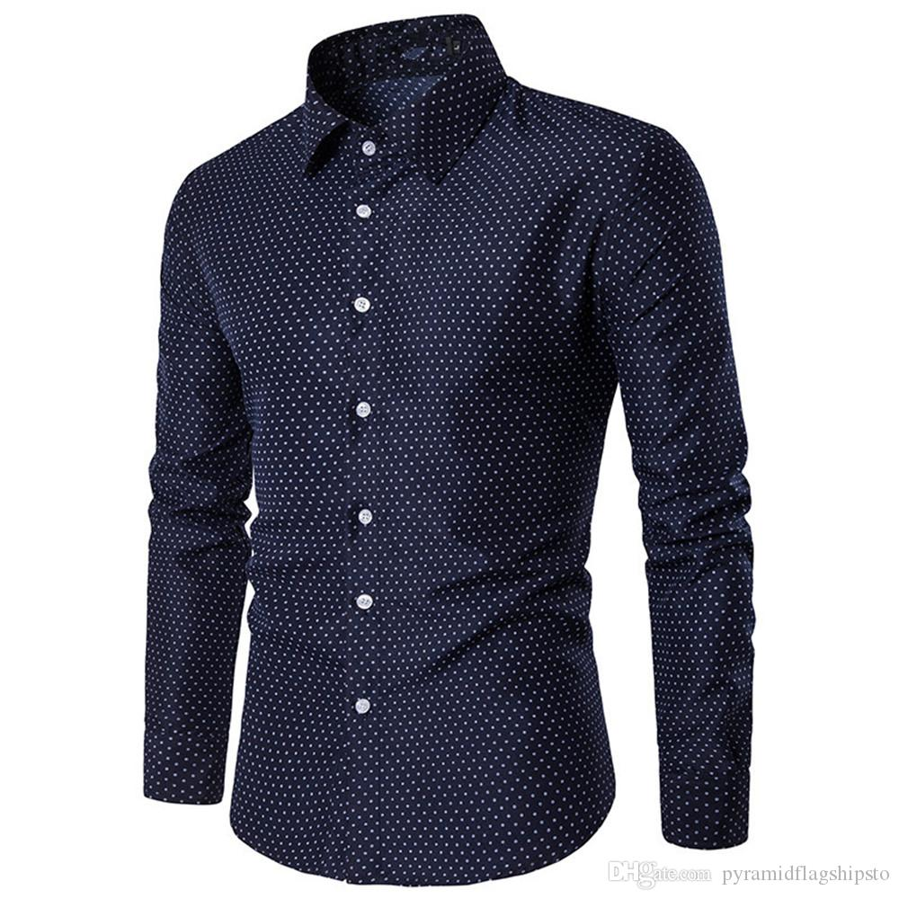 aefac3cce3 2019 Slim Men Shirt Polka Dot Print Long Sleeve Blouse Male Smart Casual  Style Party Shirts Young Boys Tops Button Blusa Big Size 4XL From ...