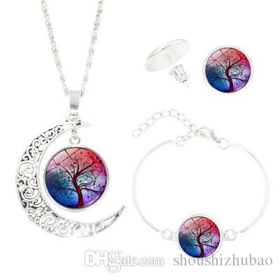 Women's Fashion Sterling Silver Jewelry Sets Life Tree Earrings Necklaces Bracelets