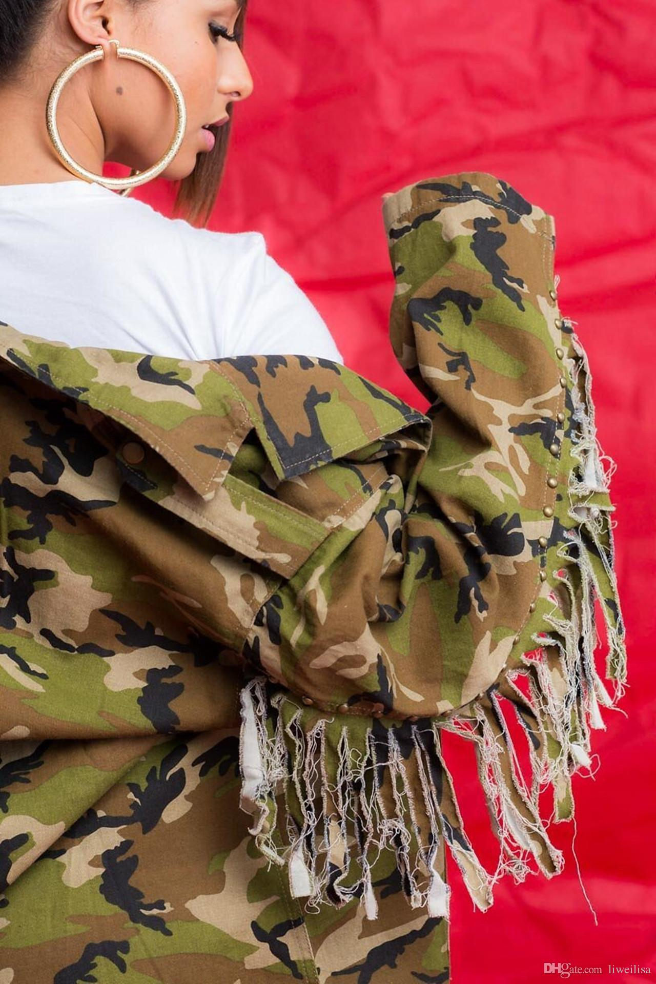 Moda Kadın Gevşek Kamuflaj Coats Turn Down Yaka Cep Uzun Kollu Püskül Düğme Ter Dış Giyim Ceket