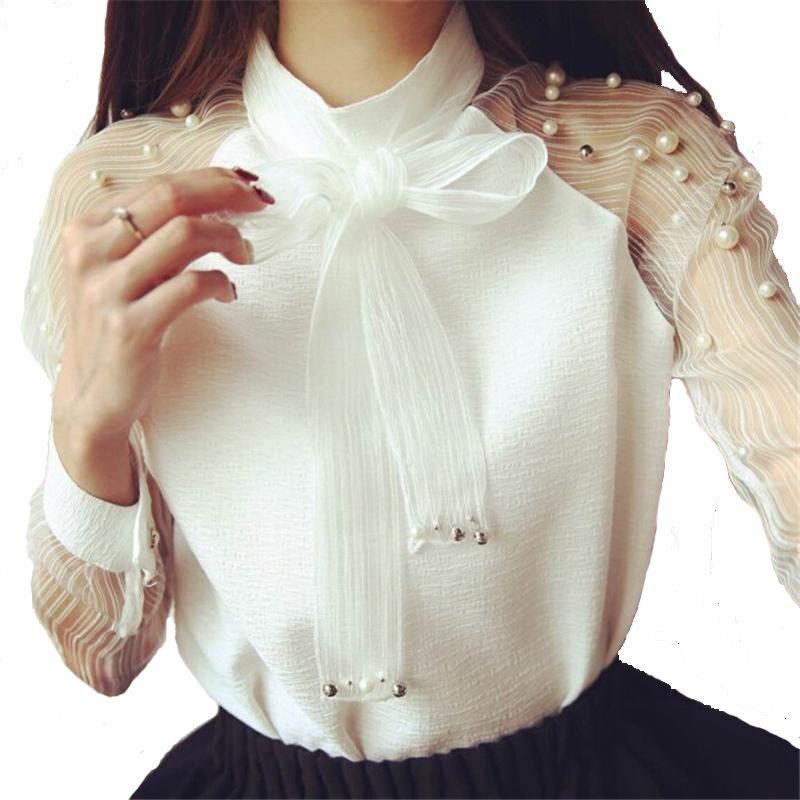 58f378d15f4e Ropa de mujer 2018 manga larga camisa elegante organza arco blanco perla  blusa Casual moda camisa gasa camisas mujer blusas Tops Blusas